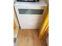 BRIMNES Chest of 3 drawers, white/frosted glass78x95 cm