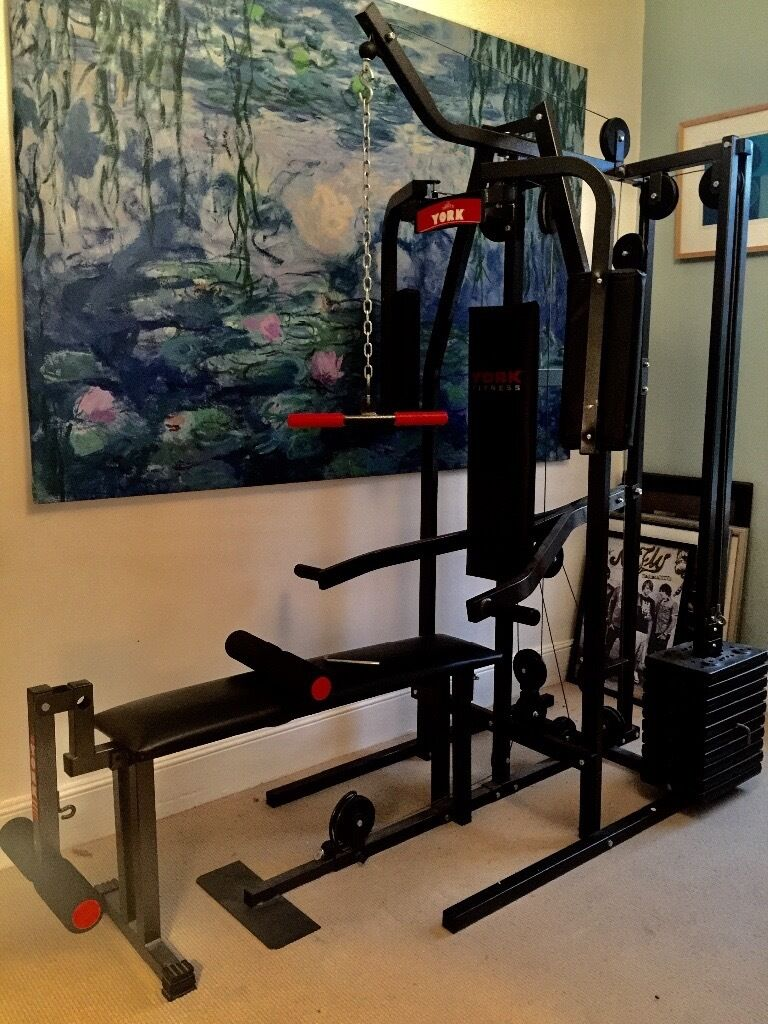 York Fitness 2002 Horizontal Gym With Folding Bench In