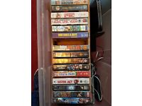 Collection of VHS tapes.