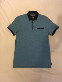 Blue Ted Baker contrast collar polo shirt size M
