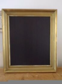 LARGE VINTAGE SOLID WOOD UPCYCLED BLACK/CHALK MESSAGE BOARD ANTIQUE GOLD 28 IN BY 25