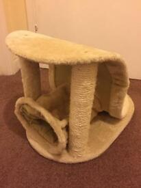 Cat scratcher with mini tunnel attached
