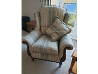 Armchair in Decorative Jacquard in Great Condition offering Good Back Support