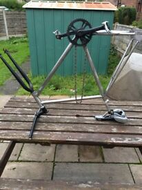 single speed silver bike frame