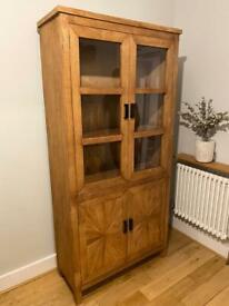 Solid oak 2 door glass display unit