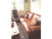 John Lewis Tetrad Corodba 3 seater brown leather sofa