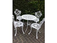 WHITE SHABBY CHIC GARDEN FURNITURE SET - TABLE AND FOUR CHAIRS