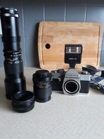 Praktica mtl3 camera and 3 lenses
