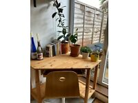 Wooden corner desk and ikea swivel chair