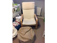 IKEA Poang Style Chair and Pouf