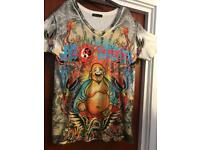 Ed Hardy t-shirt, size large with gem embroidary