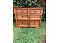 Large chest of Mexican pine drawers