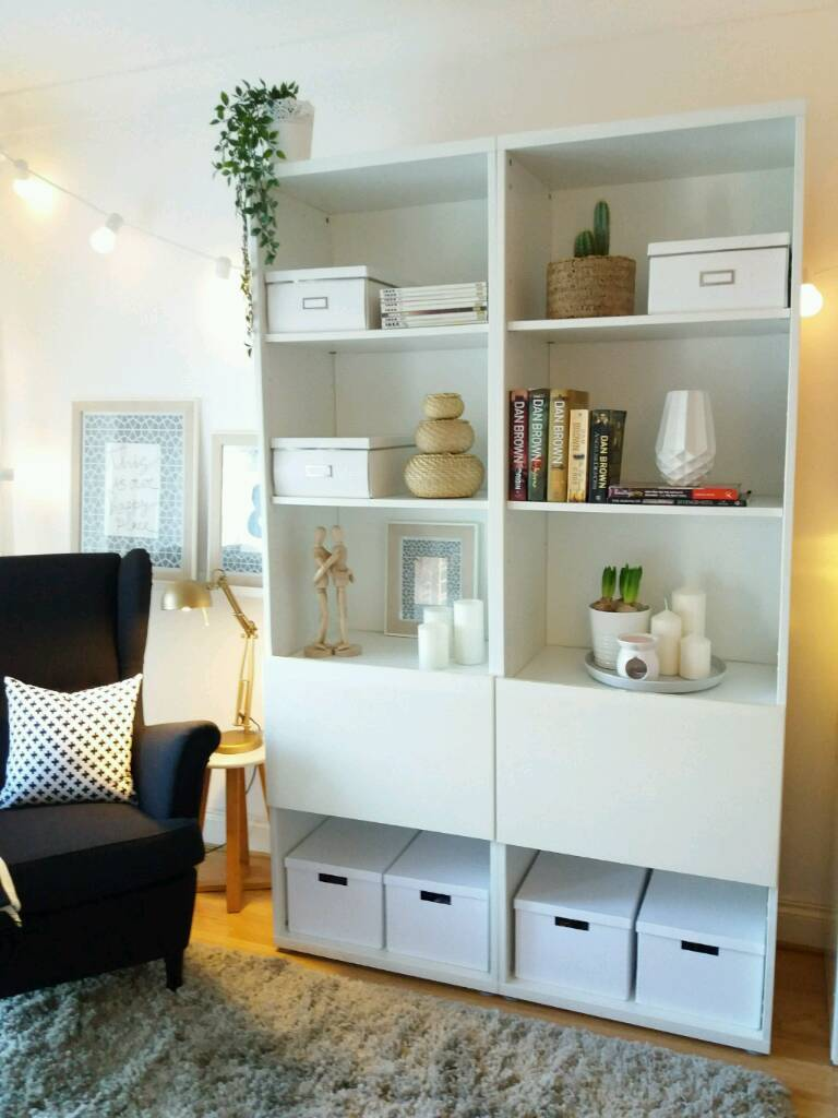 Ikea Besta Bookcase Shelving Unit With Gloss Doors