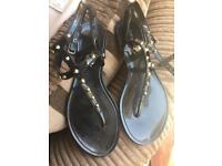 Black patent sandals size 5