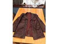 Leather Jacket Coat - Purple Real Leather - Double Breasted - Mens Medium - Antique Retro Vintage