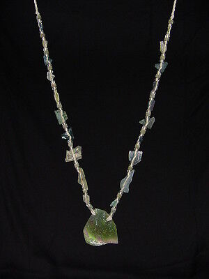 (BUTW Antique Iridescent 1st Century Roman Glass Bead Pendant Necklace 6832K)