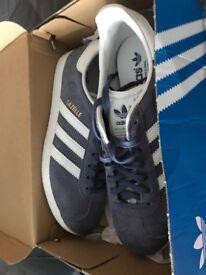 Ladies Adidas blue gazelles size 6 brand new still in box
