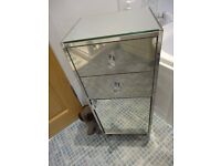 Stunning John Lewis mirrored cabinet with two drawers and diamonte handles