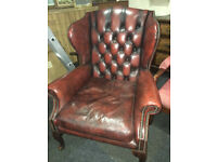 Wonderful Antique Chesterfield Queen Anne High Back Wing Chair Ox-Blood Red Leather