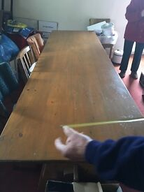 Long hard wood dining table for sale