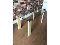 Glass Top Wooden Legs Coffee Table - £10