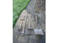 Builders spade / shovel, Pick axe, Sledge Hammer + Hammers