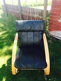 2 Black leather chairs. £35 each or £60 for pair