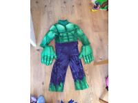 Hulk costume with hands 3-4 years