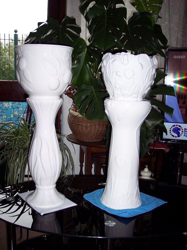 2 Large White Jardiniere's