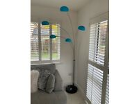 5 arm Arc Floor Lamp with Turquoise lampshades