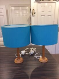 Pair of Antique Pine Coloured Bed Side Lamps