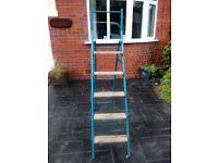 metal and wood vintage step Ladders