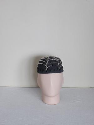 vtg 50s STUDDED punk wool jughead PSYCHOBILLY spiderweb hotrod VLV crown cap hat