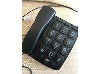 Landline telephone handset - black with large buttons
