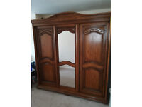 Wooden Wardrobe, 3 sliding doors, middle door with mirror