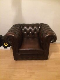 Chesterfield Leather Armchair - Brown - QUICK SALE