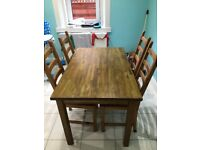 IKEA Dining table with 4 chairs, wood, good condition