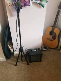 Microphone stand and amplifier