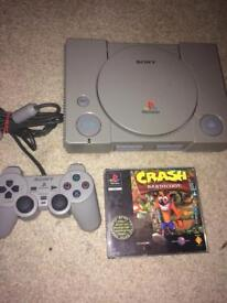 Sony Ps1 console and crash bandicoot