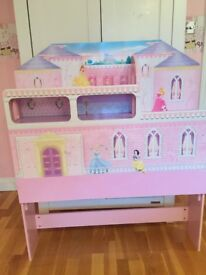Disney Princess Girls Pink castle Headboard for single bed by Dreams