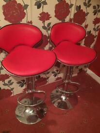 Pair of Kitchen bar Stools RED