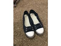 Blue and white womens flats