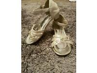 Girls Sparkly strappy party shoes, kitten heel size 11