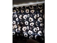 Black And Cream Flower Curtains