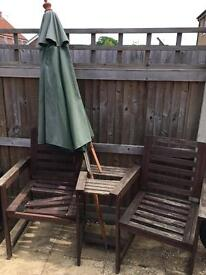 Wooden Two Seater Garden Chair Set and Parasol **PLEASE READ**
