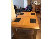 Extending dinning table to approx 70'' 55' is shown in pic,35 width.