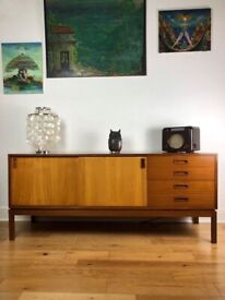Very Rare Mid-century 1960s Teak Sideboard / Credenza by M.O.D. FREE LOCAL DELIVERY