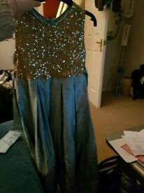 Girls blue and gold party dress