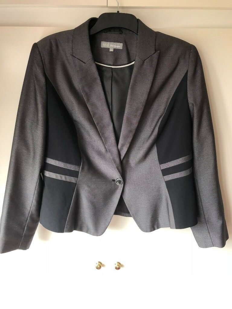 8130dbf1b64 Smart Marks and Spencer M S Grey and Black Jacket Size 18