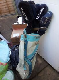 One bag of metal golf clubs. £15 for the lot